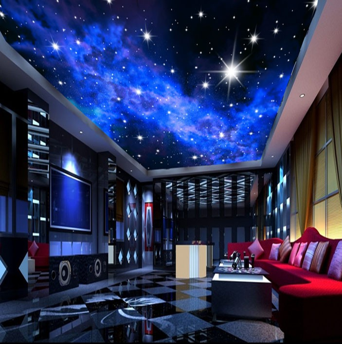 murals 3d star nebula night sky wall painting ceiling