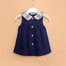New girls's plaid dresses fashion designer clothing summer dress for kids, baby girls clothing red / blue, cotton princess dress(China (Mainland))