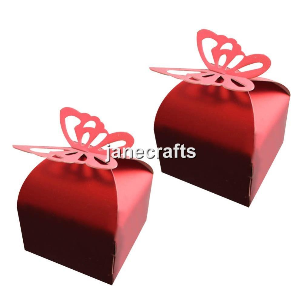 50pcs/Lot Red Baby Shower Butterfly Box Wedding Favor Box Birthday Party Candy Gift Box Festive Event Party Wedding Supplies(China (Mainland))