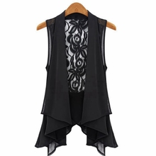 New Arrival 2016 Summer Style Women Blusas Casual Lace V-neck Floral Sleeveless Frill Top Chiffon Vintage Shirt Blouse Plus Size(China (Mainland))