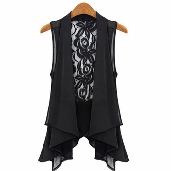 New Arrival 2016 Summer Style Women Blusas Casual Lace V-neck Floral Sleeveless Frill Top Chiffon Vintage Shirt Blouse Plus Size