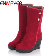 ENMAYER Snow Boots For Women New Hot Winter Warm Fur Wedges boots for Women Platform Half Knee High Thermal Motorcycle Boots(China (Mainland))