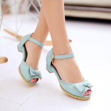 2016 New summer women pumps plus size 28-52 sweet Peep Toe ladies shoes fashion bowknot decoration ladies low heel Sandals A-6(China (Mainland))