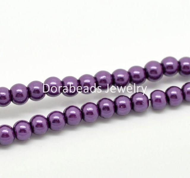 "Free Shipping! 5 Strands Dark Purple Glass Pearl Imitation Round Beads 4mm( 1/8"") Dia.  (B19348)"