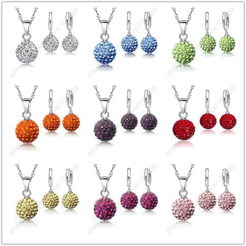 Гаджет  2015 Hot New Jewelry Sets 925 Sterling Silver Austrian Crystal Pave Disco Ball Lever Back Earring Pendant Necklace Woman None Ювелирные изделия и часы
