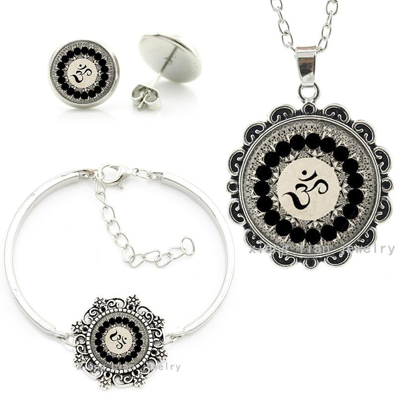 Vintage Yoga Buddhist om symbol cheap fashion indian turkish dubai jewellery sets necklace earrings bracelets jewelry set HT030(China (Mainland))