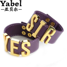 Yabel 9 Styles Suicide Squad Yes Sir Letter Bracelets Purple Harley Quinn Leather Prop Wristband Bracelet for Halloween Cosplay(China (Mainland))