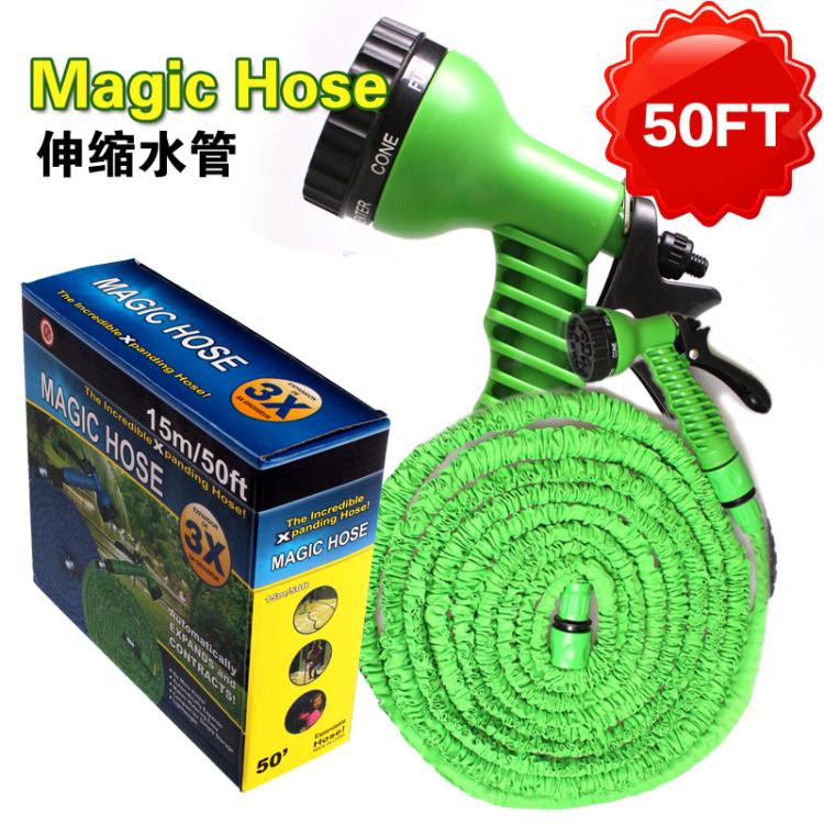 15m Flexible Garden Water Hose Magic+Spray Gun Wash Pipe Retractable Reals Watering Expandable Hoses Mangueira Jardim QT929(China (Mainland))