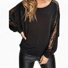2016 Summer Fashion T-shirt New Women O-neck Loose Sexy See Through Lace Splice Long Sleeve Slit Tops Tee Femininas Plus XXXL(China (Mainland))