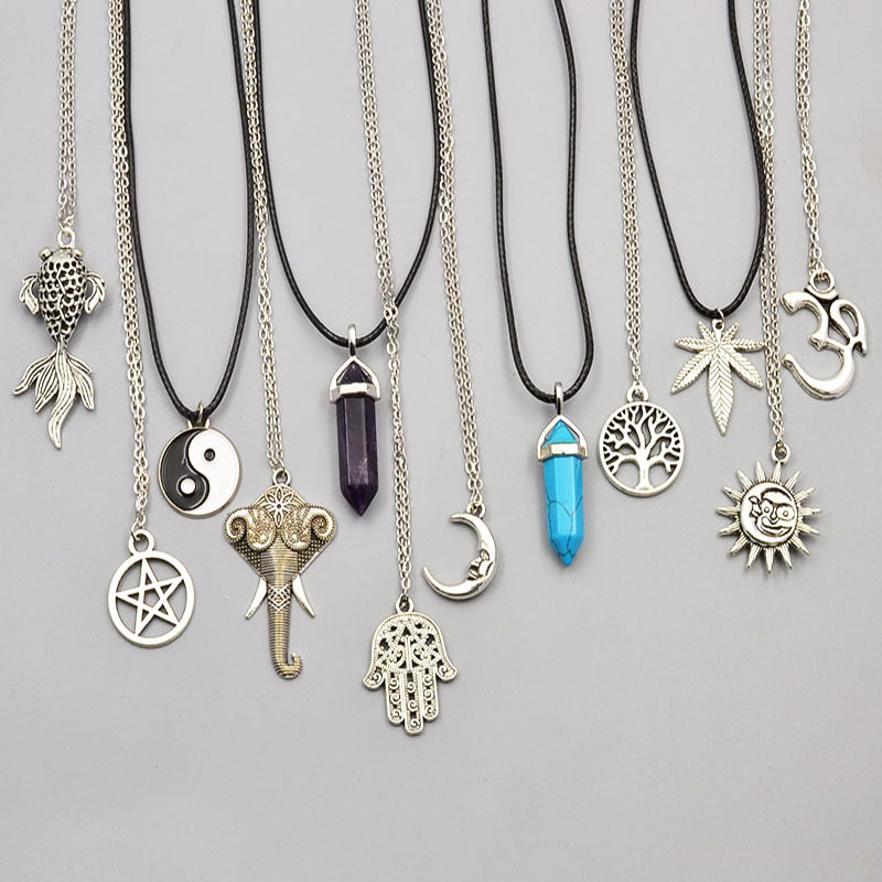 New fashion jewelry chain link crystal moon sun Elephant tree leaf pendant necklace mix design for women girl nice gift N1722(China (Mainland))