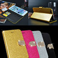 Luxury Women Girl Sexy Bling Glitter Diamond Cover Wallet Leather Case With Crystal Buckle For Samsung