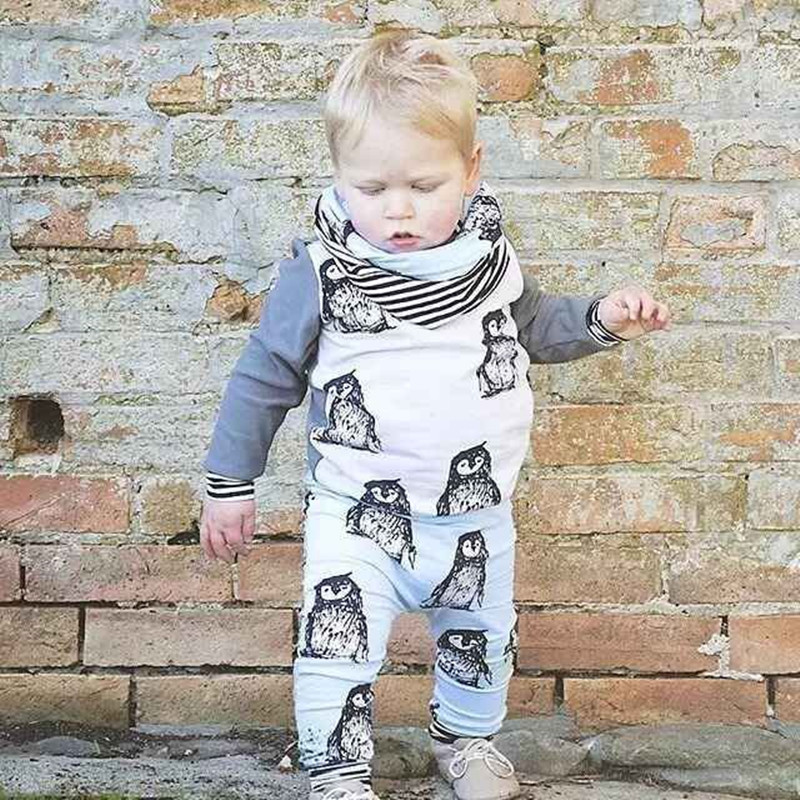 2016 New Spring Baby Clothing Sets 2pc Suits Boy Penguin Long Sleeve