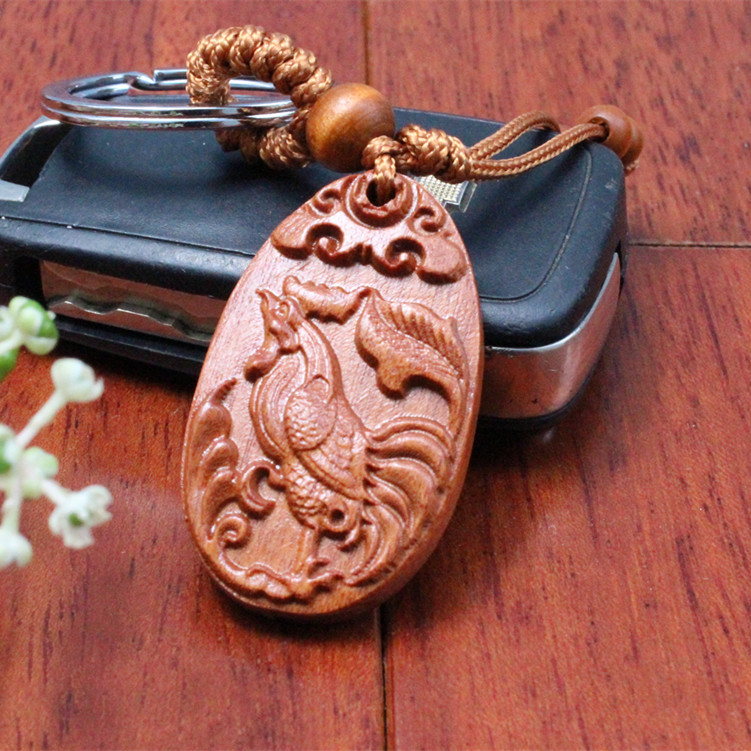 1 pc Fashion llaveros animal cock Carved Wooden KeyRing Chicken Key Chain car small Pendant Keychain woodwork porte clef(China (Mainland))