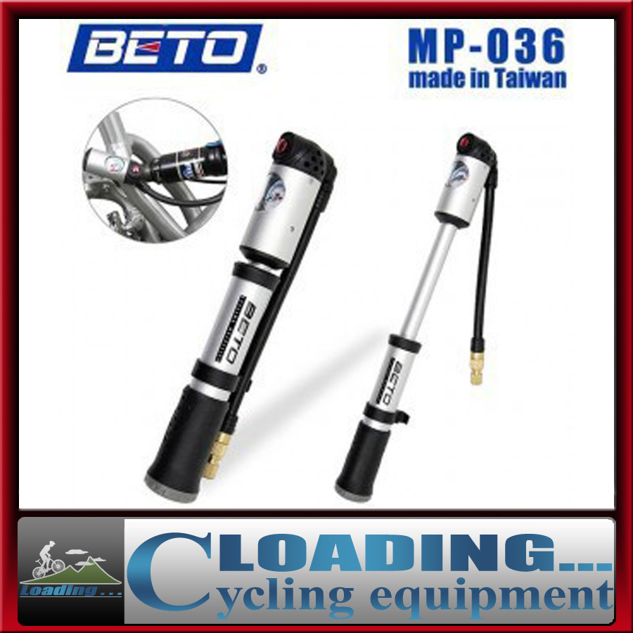 beto mp-036 portable multifunction double cylinder mini bike bicycle pump high pressure gauge hand 22cm 300psi - Loading... store