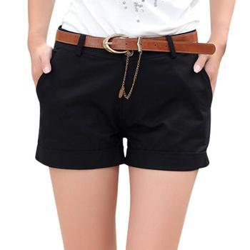 Amazing ! Plus Size M-6XL Women Summer Hot Shorts Shapely All-match Lady Casual Fashion Shorts Black / Khaki Without Belt