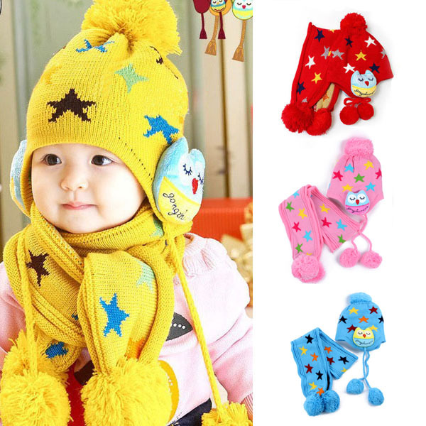 Baby Beanie Crochet Child Earflap Kids Hat Scarf+Cap 2pc Five Pointed Star Hat Gift(China (Mainland))