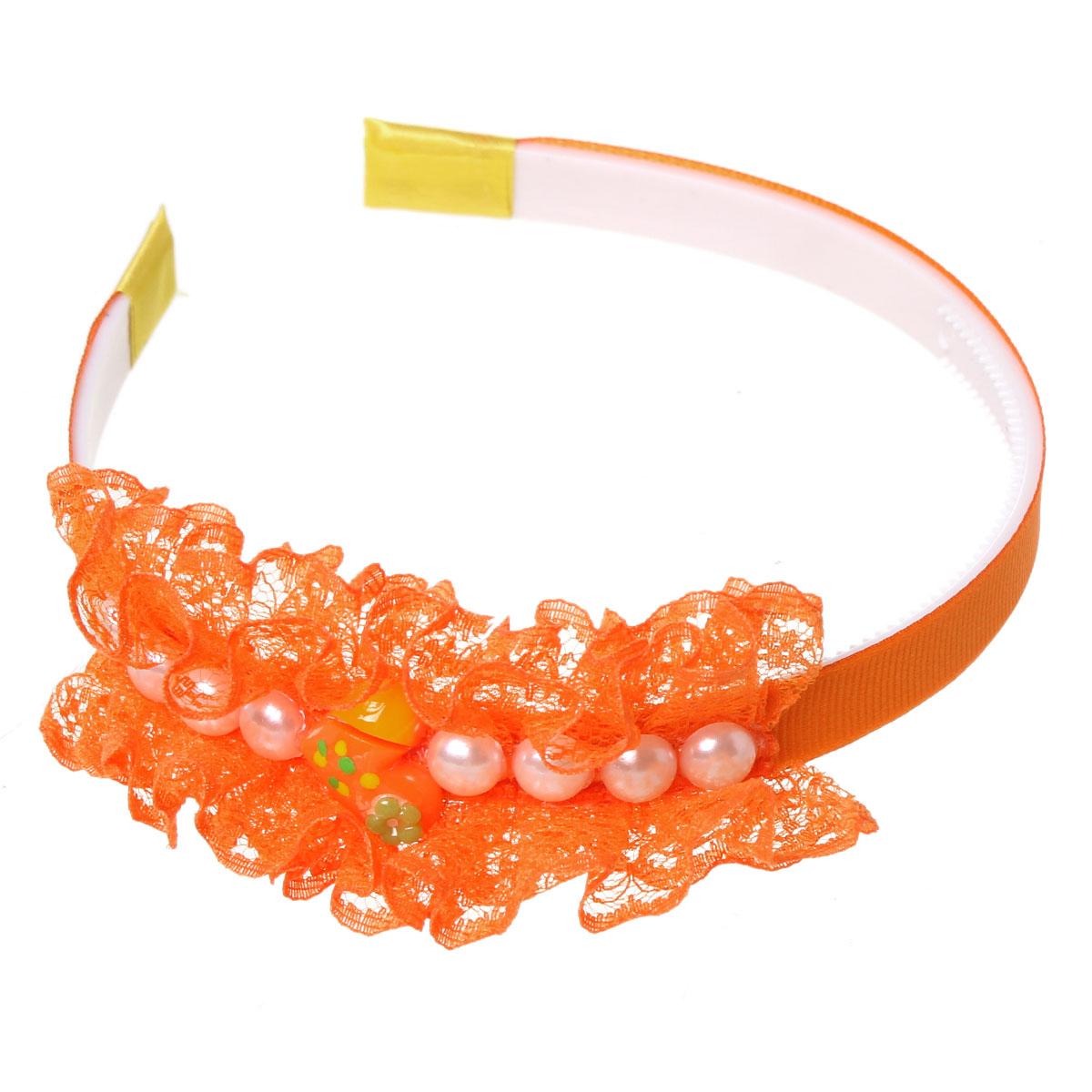 "Acrylic Headband Heart Orange Flower With White Pearl Imitation 37.2cm(14 5/8"")x 12mm(4/8""),3 PCs 2015 new(China (Mainland))"
