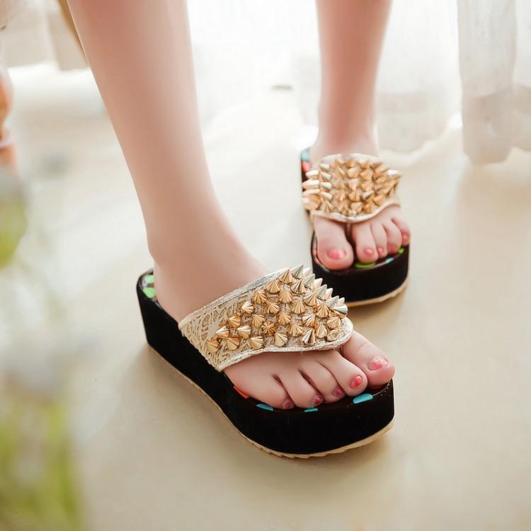 Фотография Free Shipping 31 32 33 43 42 41 Customize Small Rivet Women platform shoes flip-flop slippers plus size sandals Big Size 1 2 11
