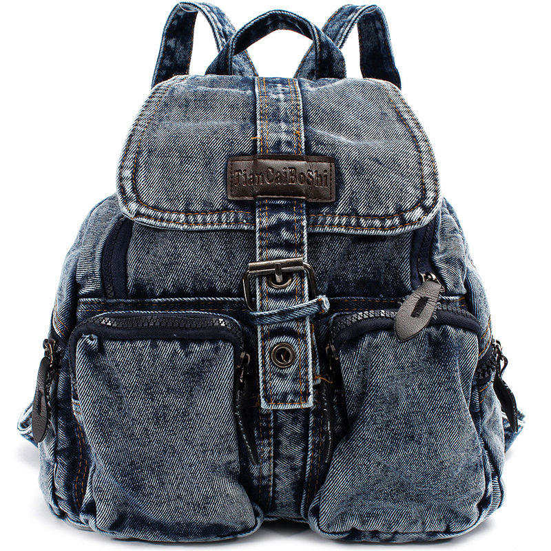 New Fashion Women Denim Backpack Vintage Canvas Travel College Teenage Girl Bag Classical Jean Lady School Student Rucksack
