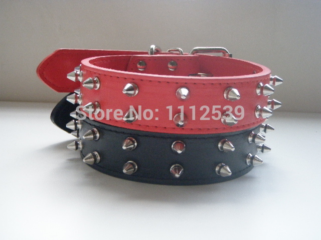 High Quality Deluxe Pet Leather Collar Two Rows Rivet Spiked Spiky Studded Dog Collar, Pit Bull, Boxer.Size Middle And Large.(China (Mainland))