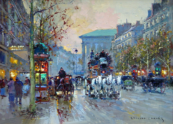 Edouard Cortes,Afternoon Street Paris landscape Impressionist oil painting on canvas HD printed pictures wall decor art work(China (Mainland))