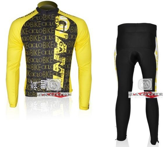 2010 GIANT yellow black cycling racing Team wear Winter Thermal Fleeced Long Sleeve Jersey Z123 set Bike cycle Clothes(China (Mainland))