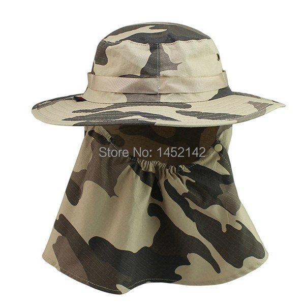 New!Summer camo fishing Hat Climbing Anti-UV Bucket Hat With Neck Face Cover sun hats camping Breathable Visors Sun Cap Freeship(China (Mainland))