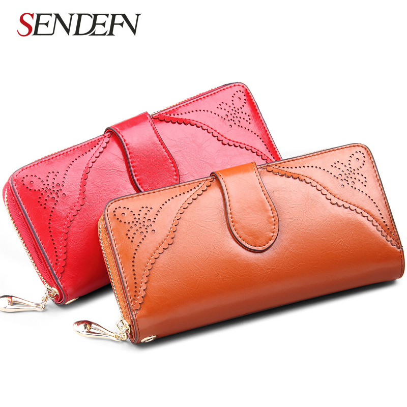 SENDEFN Vintage Genuine Leather Women Wallet Long Coin Pocket Purse Phone Wallet Female Card Holder Female Pures Lady Clutch(China (Mainland))