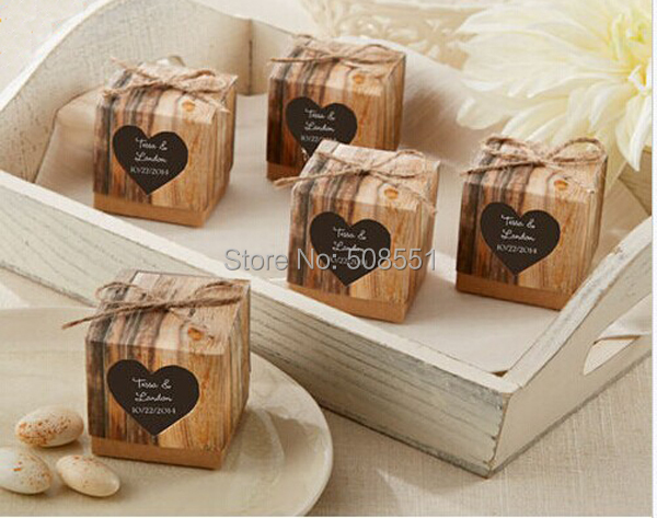 """Hearts in Love"" Rustic Wedding Candy Favor Kraft Paper Box Gift Packing Chocolate Box 12pcs(China (Mainland))"