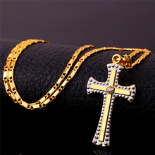 Two Tone Gold Cross Pendant Necklace 18K Real Gold Platinum Plated Women Men Jewelry Religious Cross