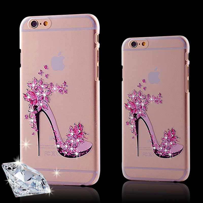 Rhinestone Clear Case for iPhone 6 6S 4.7inch/ 6 Plus 5.5inch 5s SE Princess Luxury Crystal Shoes Flowers Phone Cover Hard Cases(China (Mainland))
