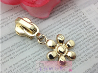 5# Gold zipper pull quality slider flower design metal long puller zipper head zinc alloy zipper diy accessories