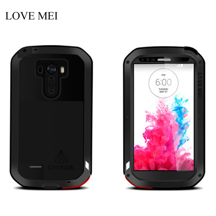 LOVE MEI for LG G3 Metal Life Waterproof Cases Powerful Aluminum Cover + Gorilla Glass for LG G3 Phone Bag capa para coque Case(China (Mainland))