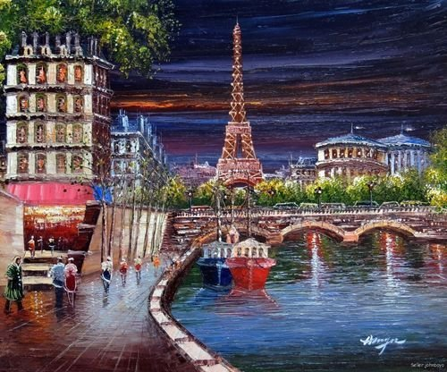 Paris France Eiffel Tower Seine Club River Night painting Oil Painting