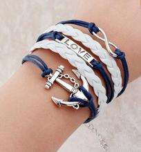 2016 2015 Promotion Discount Steampunk Bradided Wax Cords Love Anchor Owl Hungry Games Charms bracelets & Bangles man and women