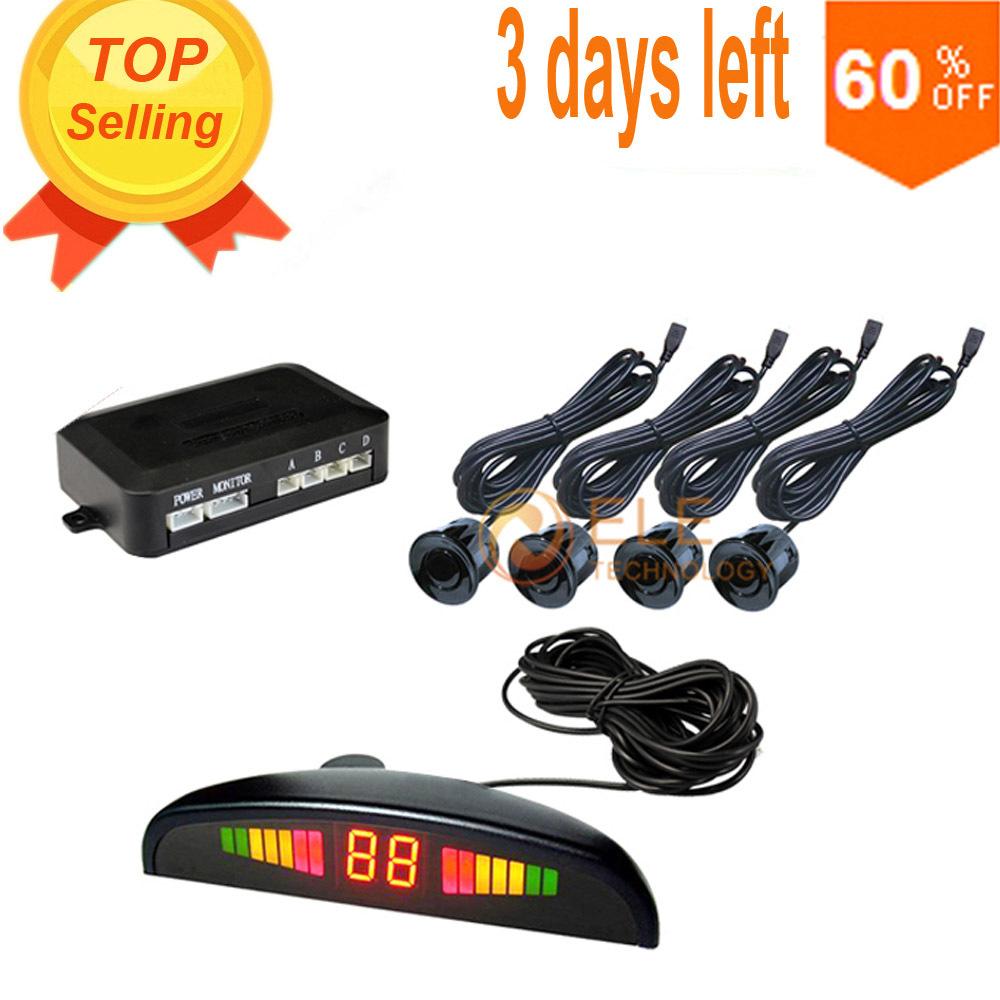 HOT OEM Parking Sensors Rear Electromagnetic Parking Sensor With LED Display 12V 4 Sensors System Radar Car Detector Parktronic(China (Mainland))