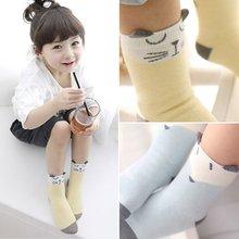 Children Sock Cartoon Cotton Fox Cat Printed Anti-slip Knee Sock Baby Kids Socks(China (Mainland))