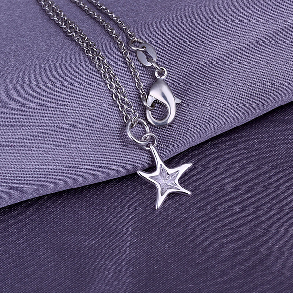 2016 New Top Quality Silver Plated & Stamped 925 loverly starfish pendant necklace fine jewerly wholesale(China (Mainland))