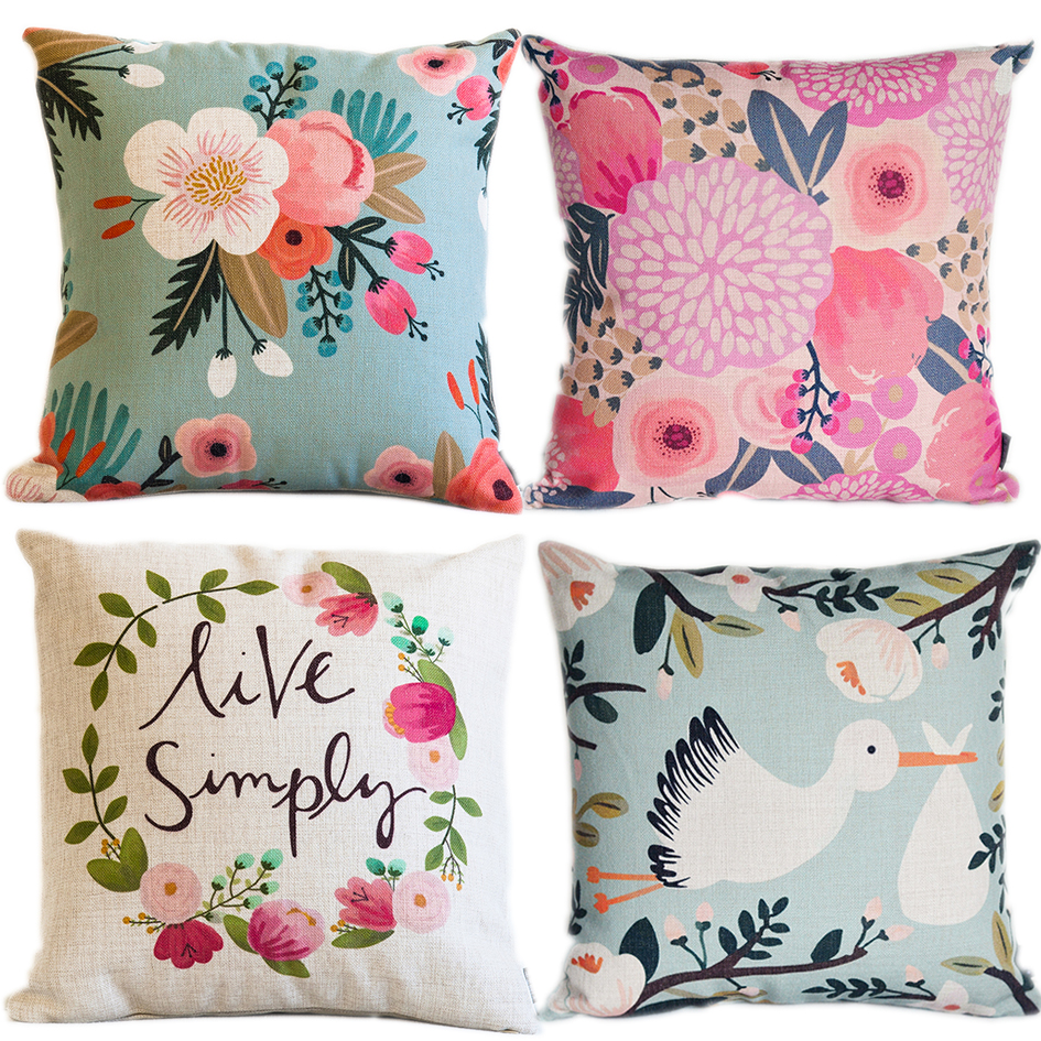 Throw Pillow Trends 2015 : Aliexpress.com : Buy 2015 New 4pcs/spring floral/plants/nature/decorative cushion cover/throw ...