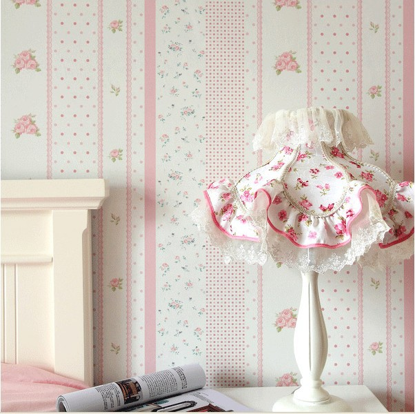 Pink Floral Wallpaper Flower pvc wall paper for child bedroom vinyl wallpapers kids girls bedroom papel de parede tapete roll(China (Mainland))