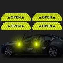 4 stks/set Auto Open Reflecterende Tape Waarschuwing Mark Nacht Rijveiligheid Verlichting Lichtgevende Tapes Accessoires Auto Deur Stickers(China)