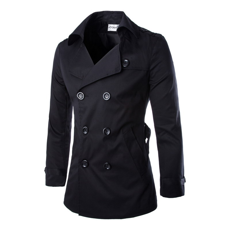 Best Selling British Style Mens Spring Autumn Double Breasted Trench Coat Men Military Style Pea Coat Men's Trench Homme(China (Mainland))