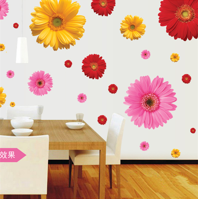 3d flowers wall sticker home decor diy adhesive art mural showcase vinyl decorative window curtain decals film decal view AY6015(China (Mainland))