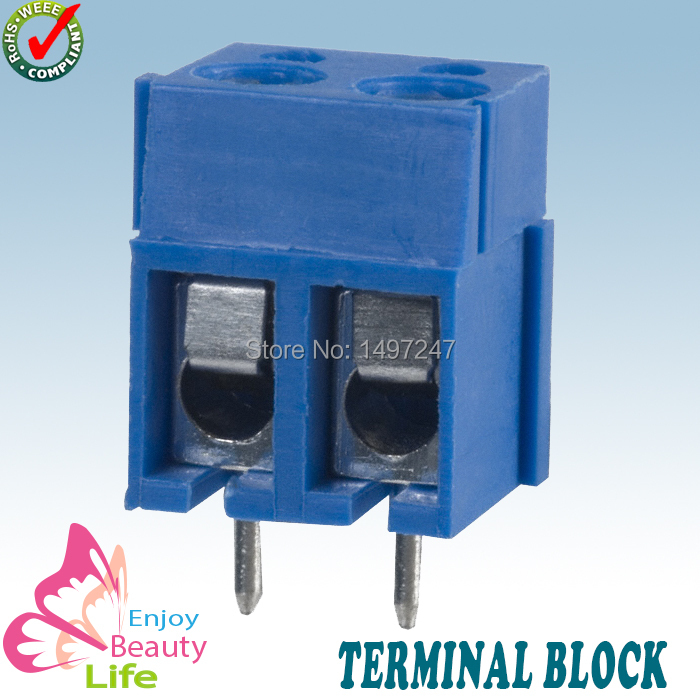 20pcs/ lot 2poles 5.0mm pitch blue color PCB screw terminal block WJ300-2-5 - ENJOY BEATY LIFE store
