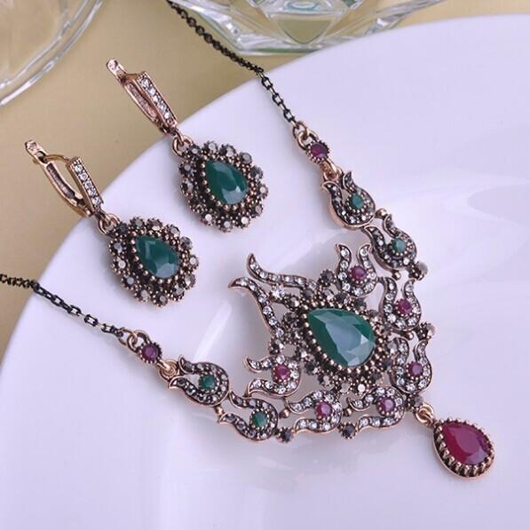 Fashion Women's African Beads Jewelry Set Shiny brand Pinarello Dogma Fine Vintage Turkish Jewellery Sets Noble Emerald Neclace(China (Mainland))