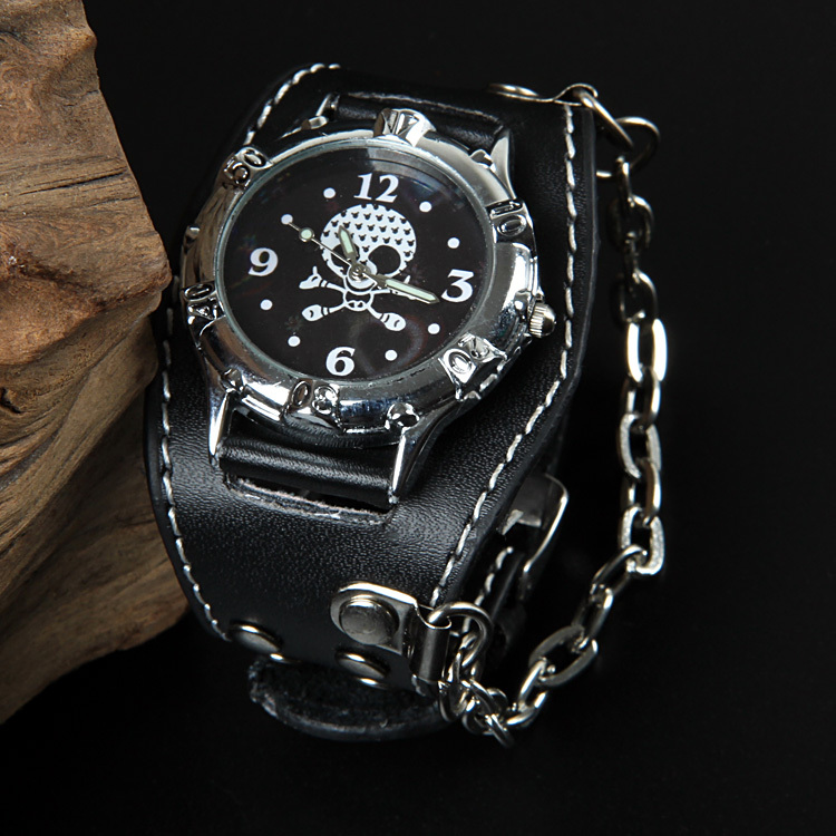 Rock Punk Cool Men Black Fashion Casual Wristwatch Skull Genuine Leather Wrist Watches