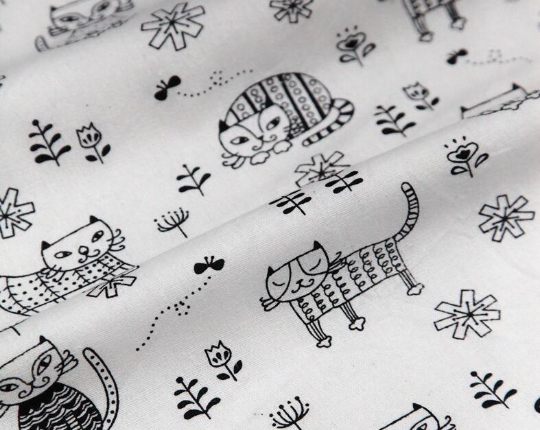 1pcs DIY Handmade Patchwork Linen Cotton Fabric Cartoon Cat and Flowers Home Use Cloth 50*160cm Free Shipping # JC086(China (Mainland))
