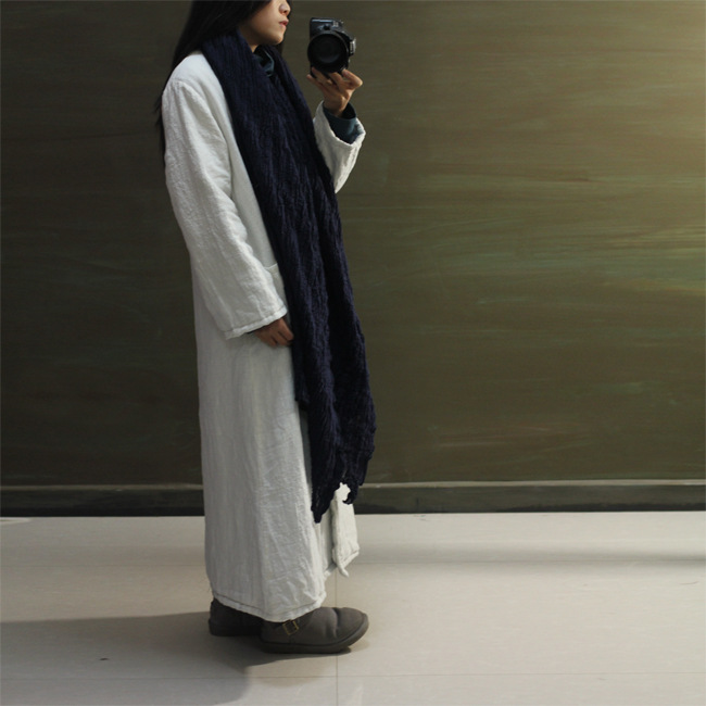 Скидки на 2015 зима женщины белый старинные однобортный ручная кнопки широкий длинные белье куртка пальто хлопка-ватник теплая макси ветровки пальто