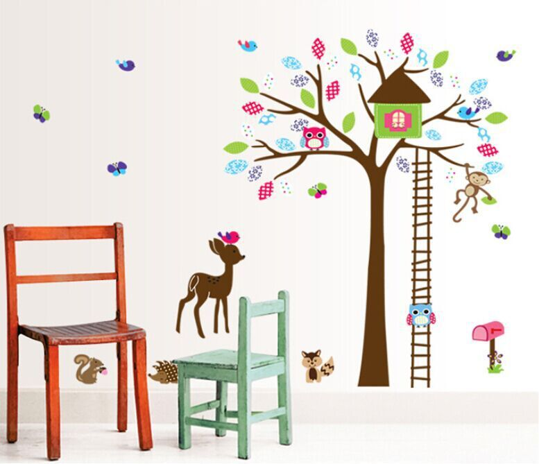Cartoon cute owl monkey deer colorful tree art diy wall for Diy colorful wall art