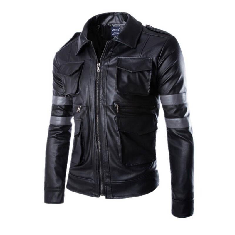 2016 Hot BIOHAZARD Game Resident Evil 6 Leon Jacket Gentlemen Cavalier PU Leather Jacket Motorcycle Outerwear Coat 50820013A(China (Mainland))